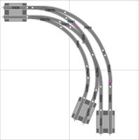 zweigleisigen-double-Weichen-on-Kurve